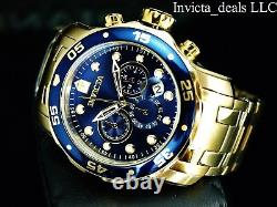 Invicta Homme 48mm Pro Diver Scuba Chronographe 18kt Or Plaqué Bleu Cadran Montre