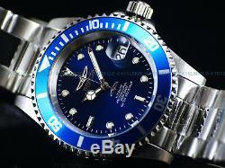Invicta Les Hommes D'origine Bord Coin Pro Diver Nh35 Automatique Silvertone Ss Blue Montre