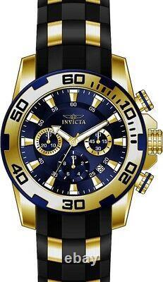 Invicta Men's Pro Diver Chrono 100m Gold Plated Case Black Silicone Watch 22313