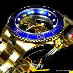 Invicta Pro Diver Ghost Bridge 47mm Gold Plated Steel Mechanical Blue Watch Nouveau