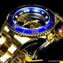 Invicta Pro Diver Ghost Bridge Mechanical Gold Plaqué Skeleton Blue Watch Nouveau