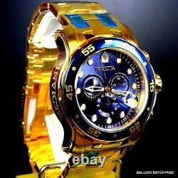 Invicta Pro Diver Scuba 18kt Gold Plated Steel Chronograph Blue 48mm Montre Nouvelle