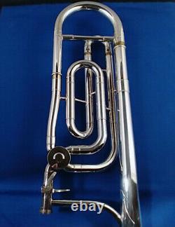 King 3b Trombone De Concert Avec Pièce Jointe F Plaque D'argent Près De L'état Parfait