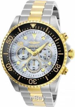 Les Nouveaux Hommes Invicta 22038 Pro Diver Chronographe Cadran Mop Bracelet Deux Tone Montre