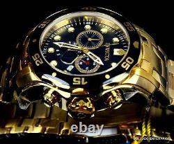 Men's Invicta Pro Diver Scuba Black Gold Plaqué Steel Chronograph 48mm Watch New