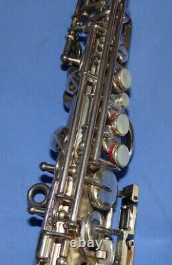 Modèle Tardif Buescher Curved Bb Silver Plated Soprano Sax Avec Boîtier Original