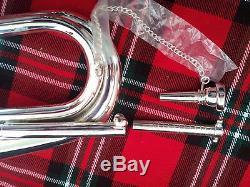 Nouveau Bg Bugle Professionnel Argent Plaque Avec Etui Porte Mains Libre / Reglable