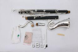 Nouveau Clarinette Basse Modèle Pads Et Case Low C Nice Tone Silver Plated #aa