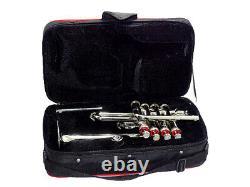 Nouveau Piccolo Trompette 4 Argent Piston Horn Bb/a 2 Pip De Plomb Pièce De La Bouche Yukc178