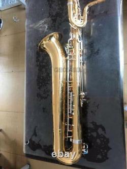 Nouveau Saxophone Pro Baritone Eb Sax Or Corps Argent Plaqué Key Low A Avec Le Boîtier