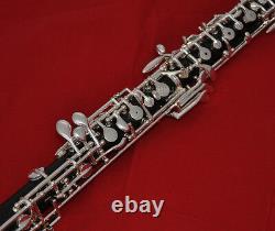 Oboe En Bois D'ébène Professionnel C Clé Plaqué Argent Avec Boîtier En Bois