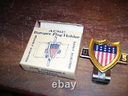 Original Des Années 1940 Vintage Auto Us Flag Plaque D'immatriculation Topper Nos Ford Gm Chevy Dodge