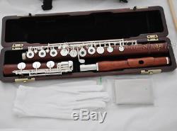 Prof. Rose En Bois C # Trill Flûte Pieds B Clé Française En Argent Coffret Luxary 2 Concert