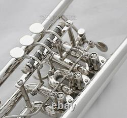 Prof. Silver Nickel Plaqué 3 Valves Rotatives Trompette Bb Key New Horn With Case