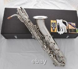 Prof. Taishan Silver Nickel Plaqué Eb Baryton Saxophone Avec Boîtier À 2 Cous