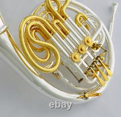 Professional 103 Double French Horn Silver Gold F/bb Détaché Bell Withcase
