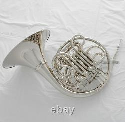 Professional Double Français Horn Silver Nickel Plaqué F/bb 4 Keys Nouveau Boîtier