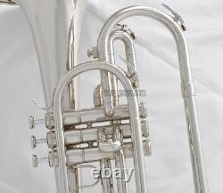 Professional Jinbao Silver Nickel Marching Mellophone F Key Horn Avec Boîtier