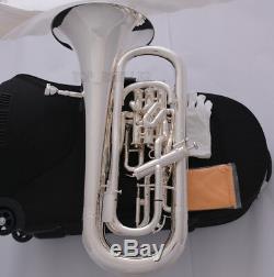 Professional New Bb Trigger Compenser Euphonium Argent Plaqué Roues Case
