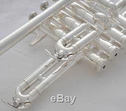 Professional New Silver Trompette Piccolo 4 Piston Corne Bb / A 2 Embouchure Branche D'embouchure