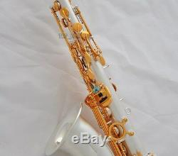 Professional Satin Silver Plaqué C Melody Sax Saxophone Abalone Key 2 Cou