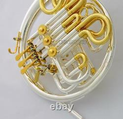 Professional Silver Gold Plaqué Double Français Horn 103 Modèle Détachable Bell Nouveau