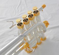 Professional Silver Gold Plaqué Piccolo Trumpet Monel Valve Bb/a Keys New Case