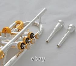 Professionnel Argent / Plaqué Or Eb / D Trompette 3 Monel Valves Avec Boîtier 2 Bouche