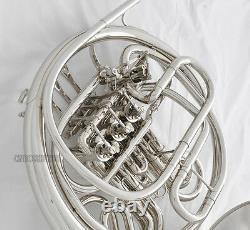 Professionnel Double Français Horn Silver Nickel Plaqué F/bb 4 Keys With Case