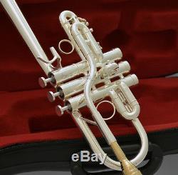 Professionnel Eb / D Trompette Argent Corne Monel Valve + Plaqué Or Bouche Withcase