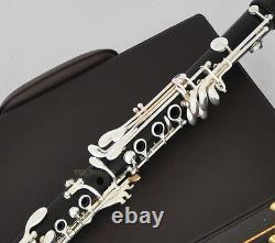 Professionnel Ebony Bois Bb Clarinet Argent Plaqué 19 Clés Tapis Italien Avec Boîtier