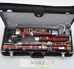 Professionnel Maple Wooden Body Bassoon Silver Placage Keys 2 Bocals Leather Case