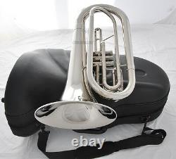 Professionnel Marching Baryton Argent Nickel Plaqué Bb Tuba Horn With Case