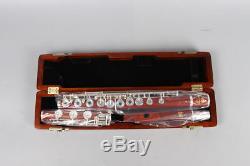 Professionnel Rosewood Flûte 17 Trous Ouvert En Argent Plaqué Touche E Touche B Pied