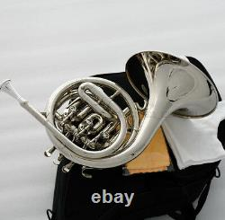 Qualité Nickel Argent Plaqué Mini Français Horn Bb Keys Gravure Bell Avec Boîtier