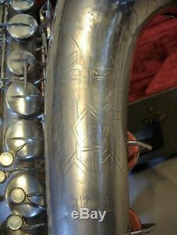 Rare Vintage 1952 Conn Argent 10m Nu Lady Saxophone Tenor Avec Étui D'origine