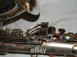 Roi Zephyr Saxophone Alto # 173xxx, 1937, Argent Original, Tapis Récentes Complet
