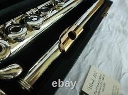 Sankyo Cf301 Sterling Silver Pro Flûte Avec Plaque À Lèvres En Or Massif Et Riser