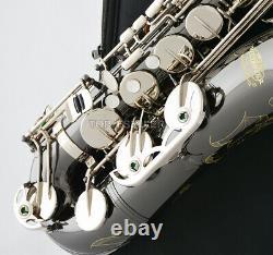 Sax Professionnel Noir Argent Nickel Tenor Saxophone Haute F# Avec Boîtier