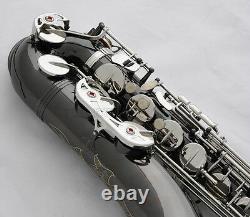 Saxophone Professionnel Black Nickel Silver Saxophone Bb Sax Gold Bell Avec Nouveau Boîtier