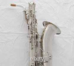 Saxophone Professionnel Eb Baritone Argent Nickel Sax 2 Colliers Allemagne