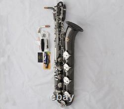 Saxophone Professionnel Eb Baritone Black Silver Nickel Low A Bari Saxophone Avec Boîtier