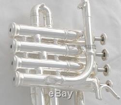 Trompette Piccolo Bb / A Corne Plaquée Argent Professionnelle 4 Monel Valves Avec Etui