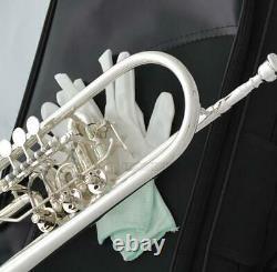 Trompette Rotative Professionnelle Bb Argent Plaqué 1er/3ème Gâchette De Valve + Soprano Key