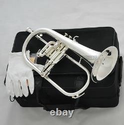 Vente! Argent Professionnel Plaqué Bugle Monel Vannes Bb Trigger Horn + Case