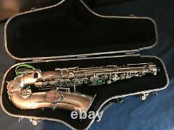 Vintage 1926 Buescher True-tone Alto Saxophone Original Argent Matte Finition