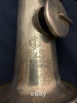 Vintage B & S Soprano Saxophone Withweltklang Embouchure Et Blue Label Case
