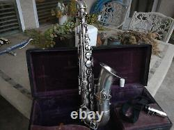 Vintage Buescher Alto Sax Dans Silver Plate Ready To Play Free Shipng! Faire Une Offre