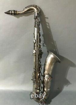 Vintage Cg Conn Années 1920 New Wonder I Tenor Sax Serial #65887 Silver Plaqué