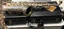 Vintage Conn Mezzo Saxophone 1928 Clé De F Avec Cou Orig & Orig Cas Belle Forme